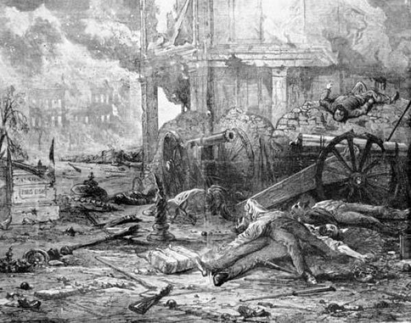 Ridgfield was a battle in the streets as depicted in this image. The illustration shows the barricades made by the American troops.