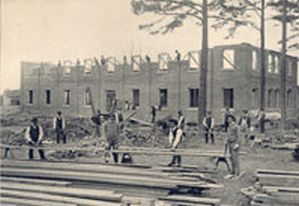 Above is the construction of the Biddle Memorial Hall it was named after mary duke biddle who donated generously to the school it was a 600 seat chamber and an annex for the church .