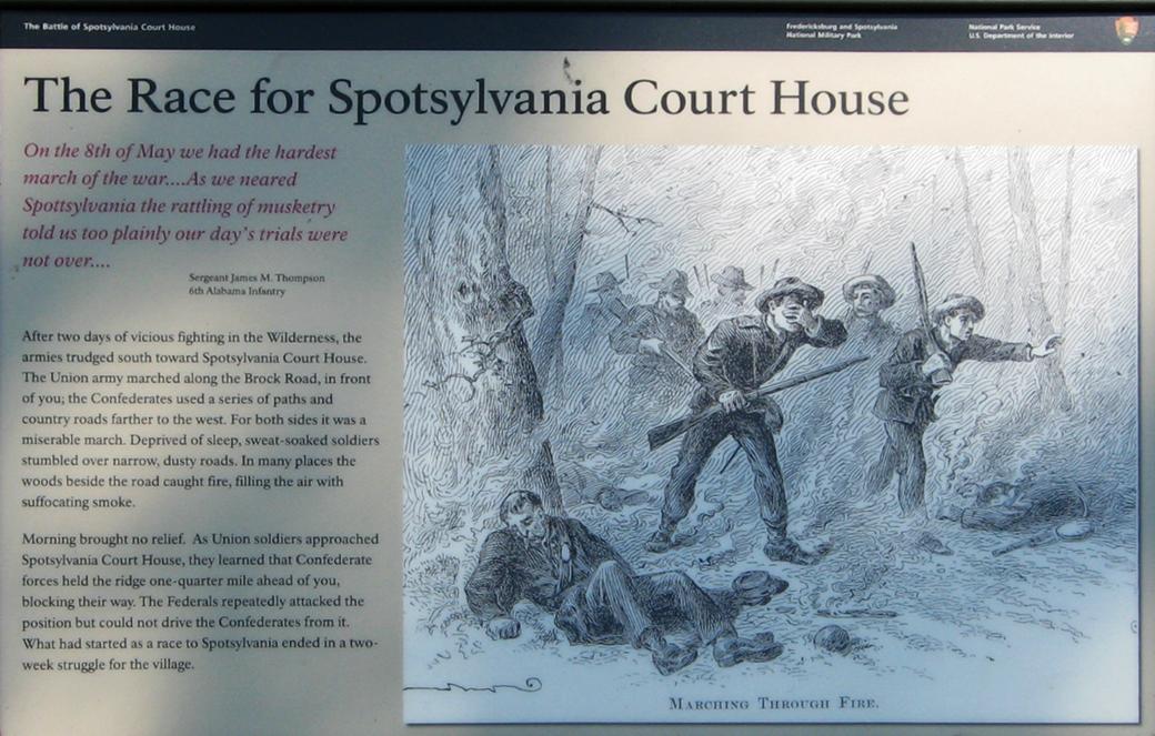Informational plaque: The Race for Spotsylvania Court House