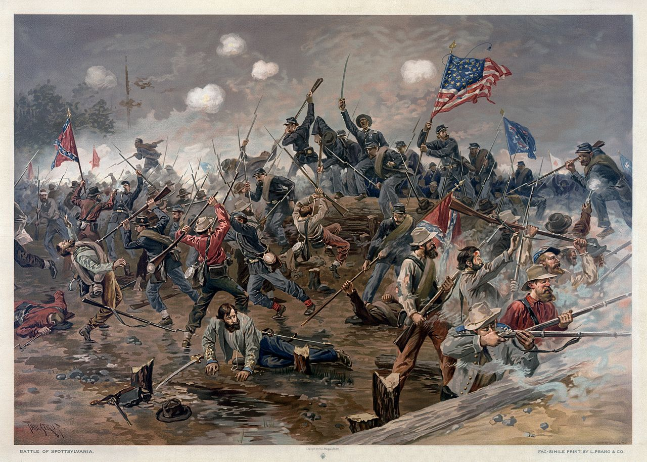 The Battle of Spotsylvania, by Thure de Thulstrup. This scene is of the Union breakthrough at the Mule Shoe using the new charging tactic devised by Emory Upton.