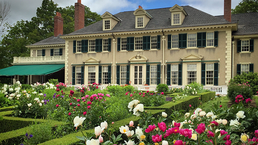 Hildene with the peonies in bloom.