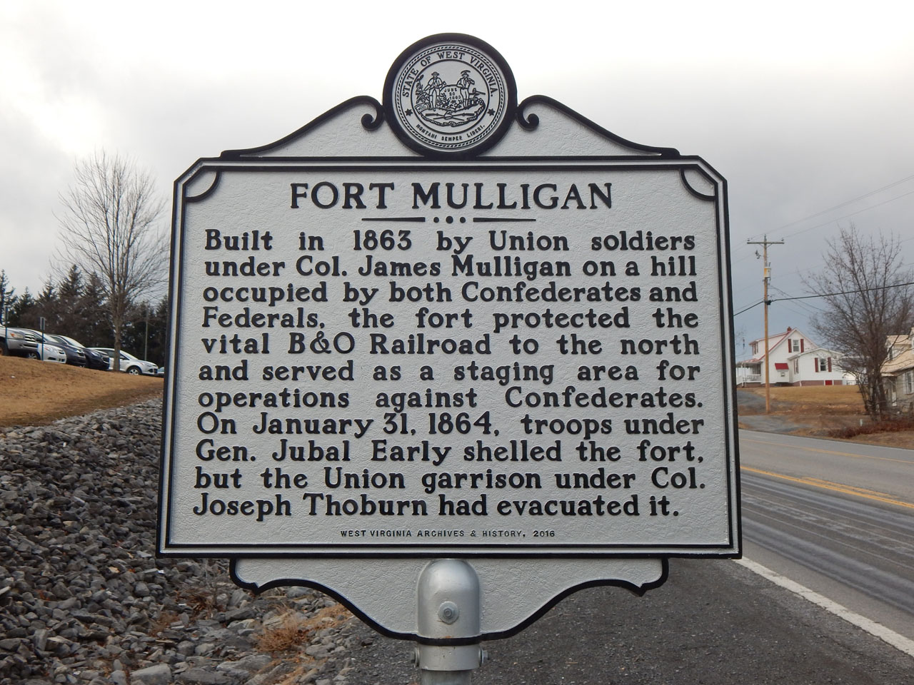 Fort Mulligan historical marker.