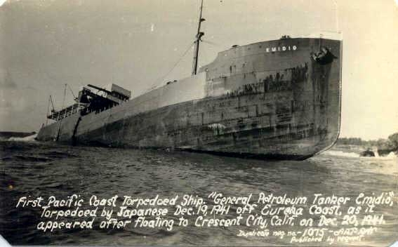 The wreckage of the S.S. Emidio floated to north where it crashed on the rocks off of Crescent City. It wasn't scrapped until the 1950s.