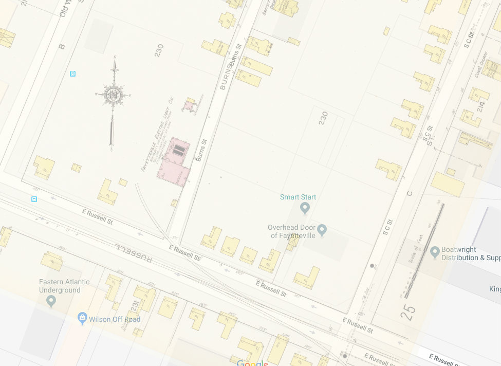 This shows the 1914 Sanborn Map of Fayetteville on top of a 2018 Google Map. 541 Russell Street sits just in front of the current location of Overhead Door of Fayetteville.