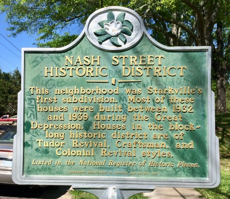 The historical marker describing the Nash Street Historic District