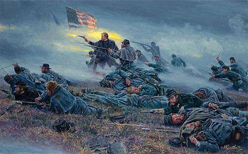 Mort Kunstler's depiction of the 20th Maine's (Joshua Chamberlin kneeling and firing in center) charge against the stone wall.