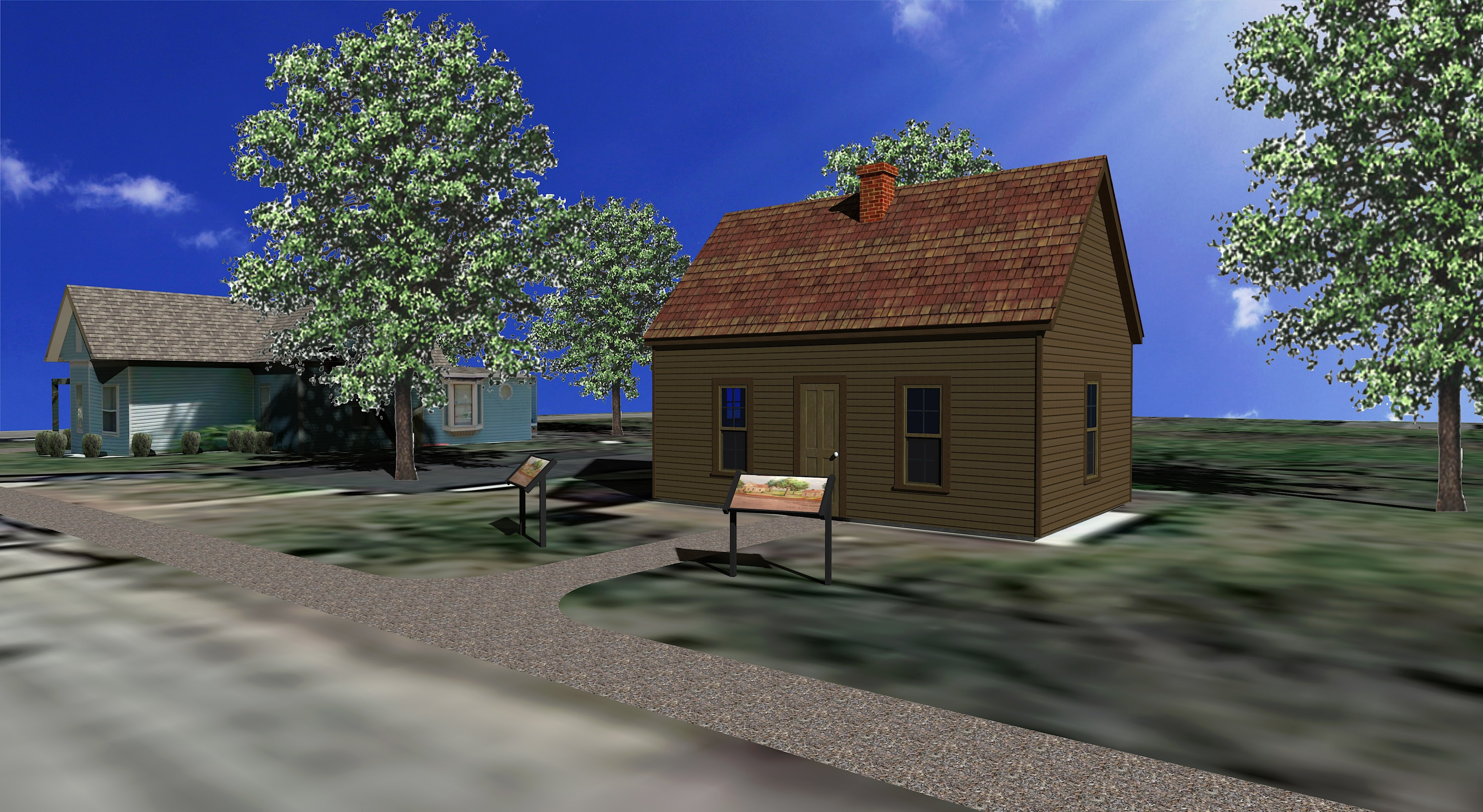 Artist's rendering of completed project, 1872 Neosho Colored School