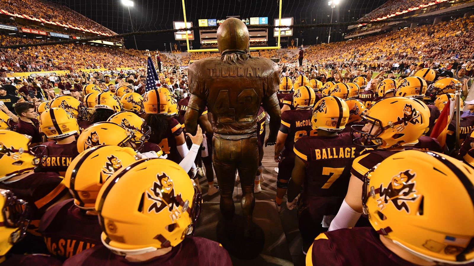 Statue before a game