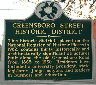 The historical marker for the Greensboro Street Historic District