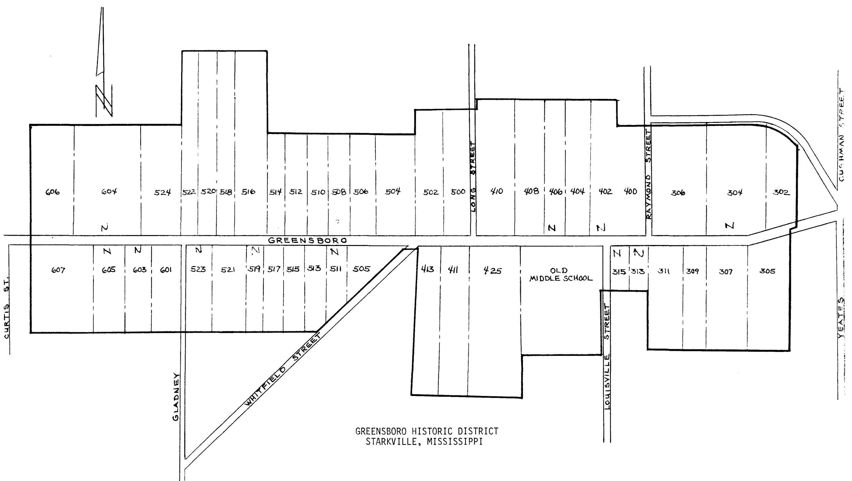A diagram of the houses included in the Greensboro Street Historic District