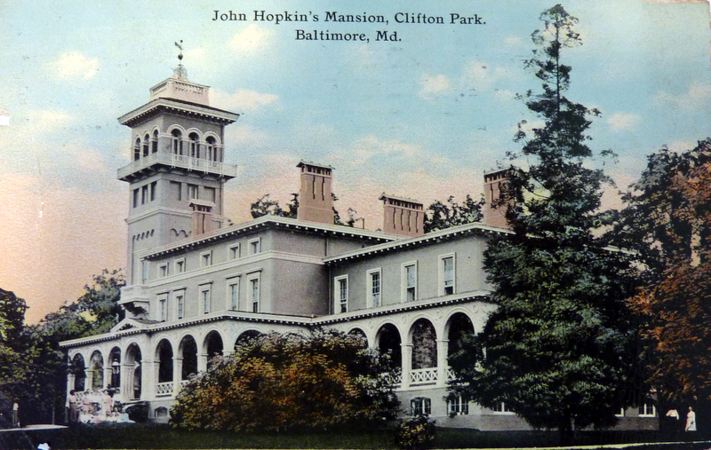 Historic postcard of Johns Hopkins' home, The Clifton Mansion. Photo courtesy of Baltimore Heritage.