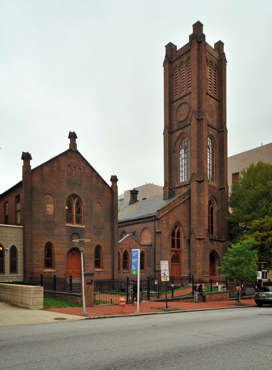 Westminster Hall in Baltimore, Located at Fayette and Greene