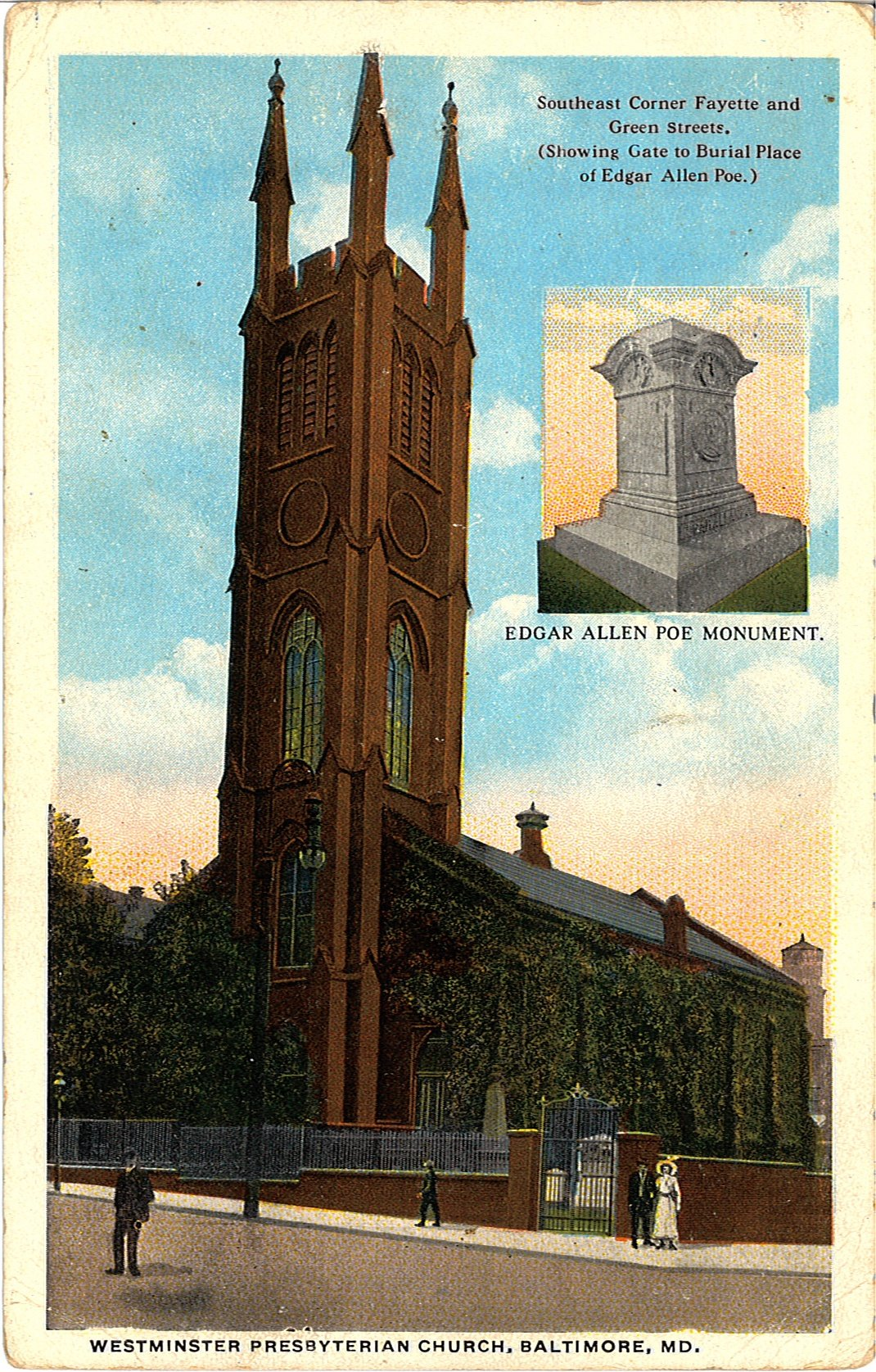 Circa 1913 Postcard of Westminster Hall Featuring Poe's Monument