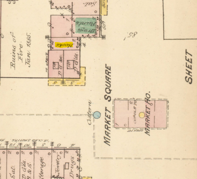 This 1885 Sanborn Map shows the location of George Haigh's bookstore at upper left.