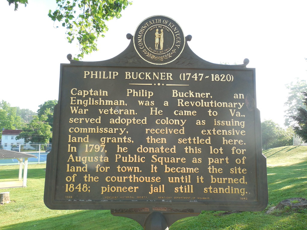 The site's historical marker, which commemorates Captain Buckner.