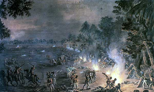 An illustration of the Battle of Paoli. Many Americans were killed in the midnight battle.