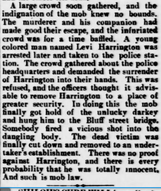 Newspaper clipping featured in Sedalia Weekly Bazoo describing the lynching