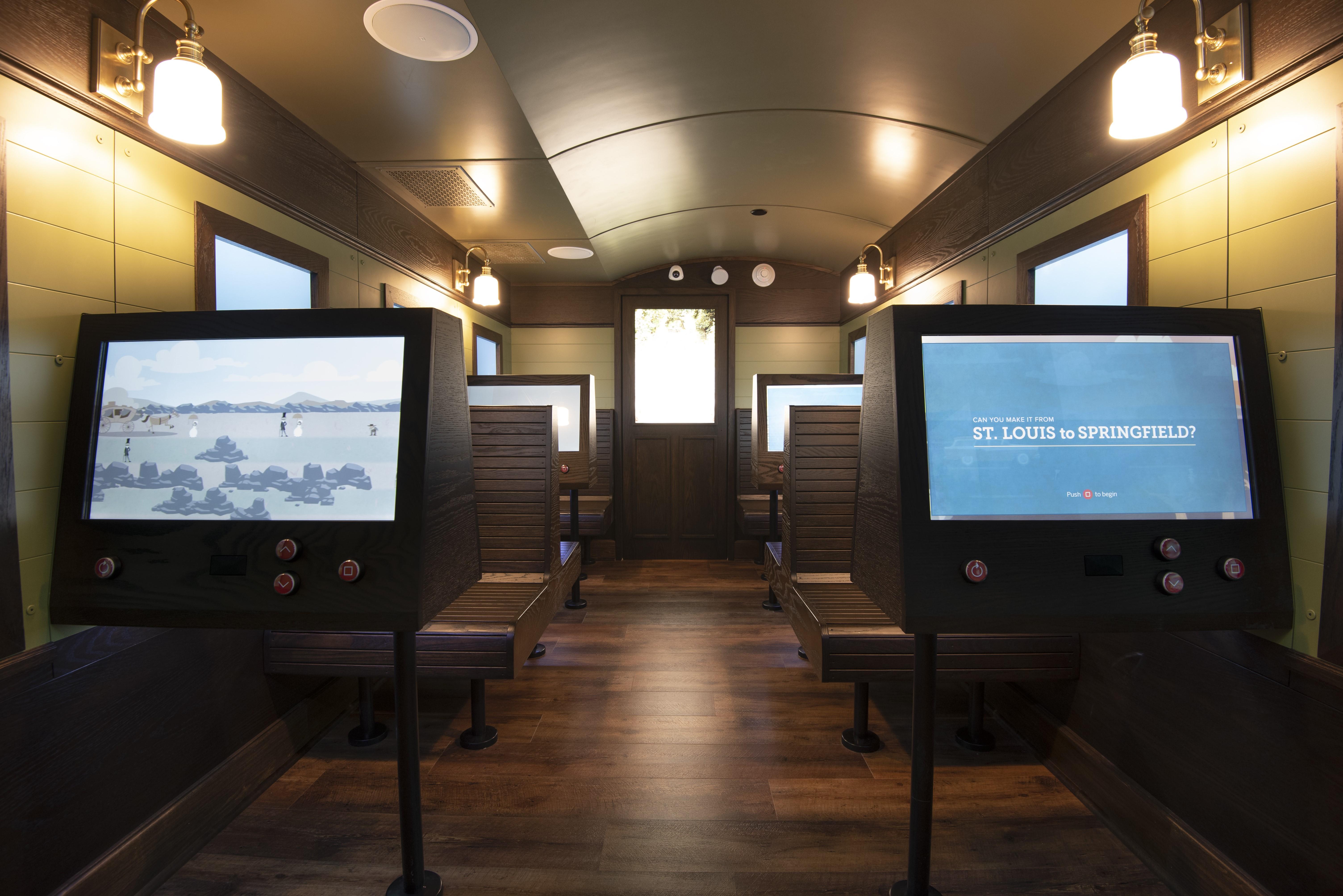 Play transportation games inside the Frisco Train