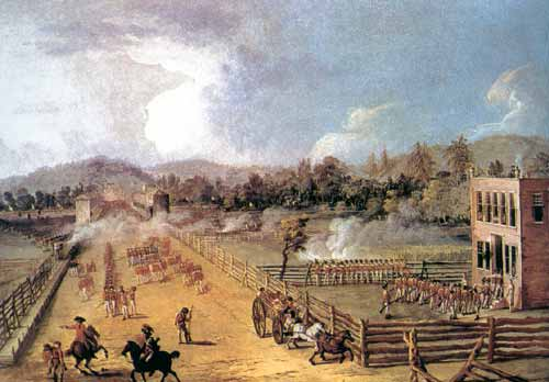 This is an illustration of the Battle of Germantown around the Chew House. Germantown was a major loss for the American army.