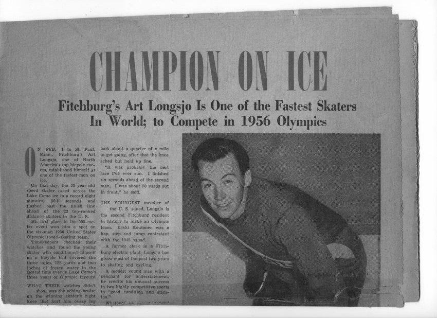 Arthur Longsjo, Jr. featured in a news article in advance of 1956 Olympics