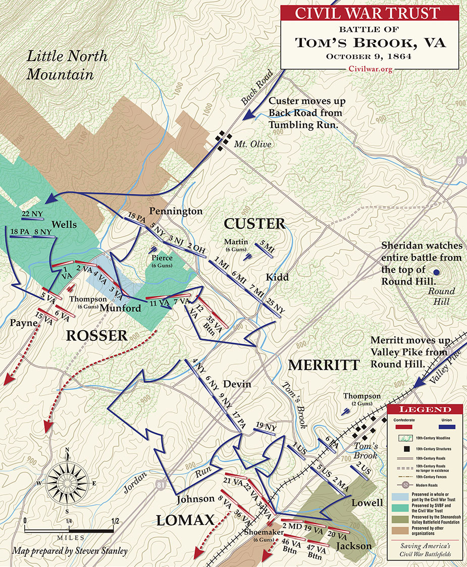 Map showing Toms Brook Battle
