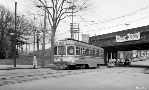 Streetcar passes under the New York Central tracks on Lake Avenue near Clifton., June 6, 1946