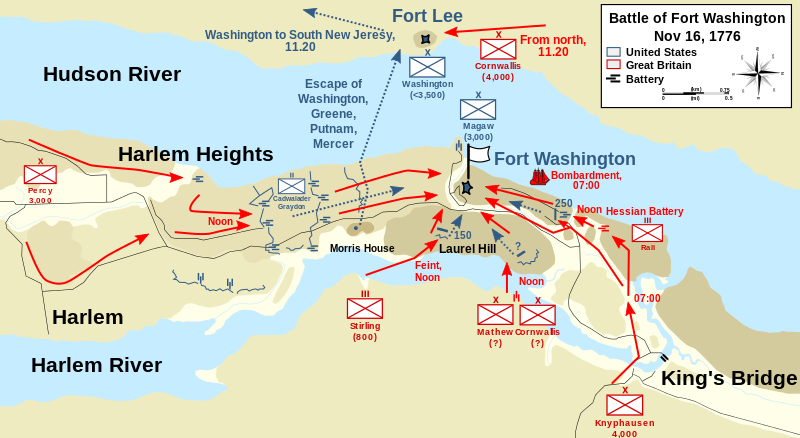 Battle of Fort Washington battle map