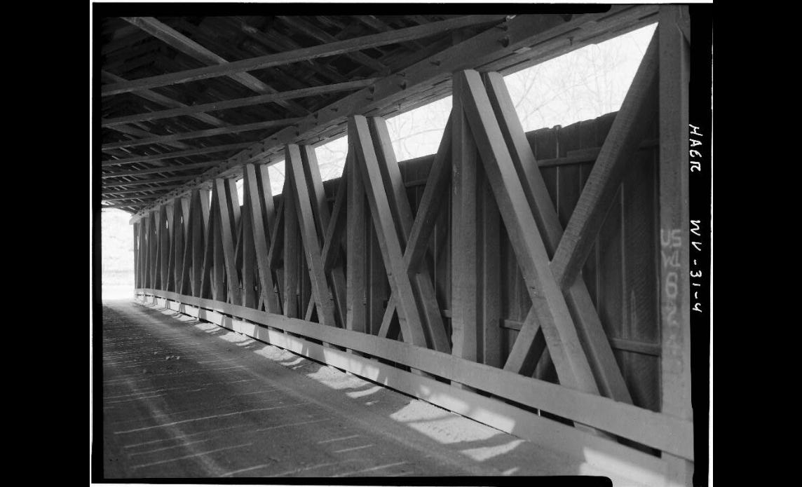 Interior of the bridge at original location. Note the iconic Long trusses