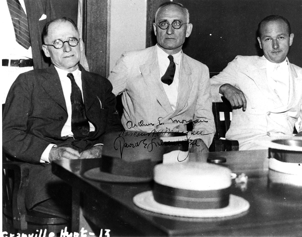 TVA's first board in 1933 (left to right): Harcourt Morgan, Arthur E. Morgan, and David Lilienthal