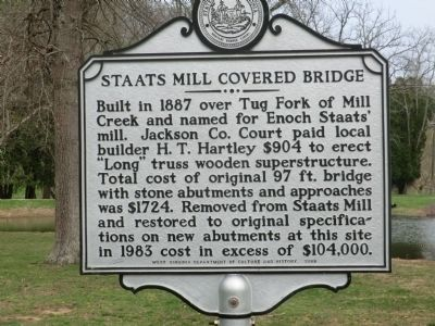 Historical marker at the bridge's current location