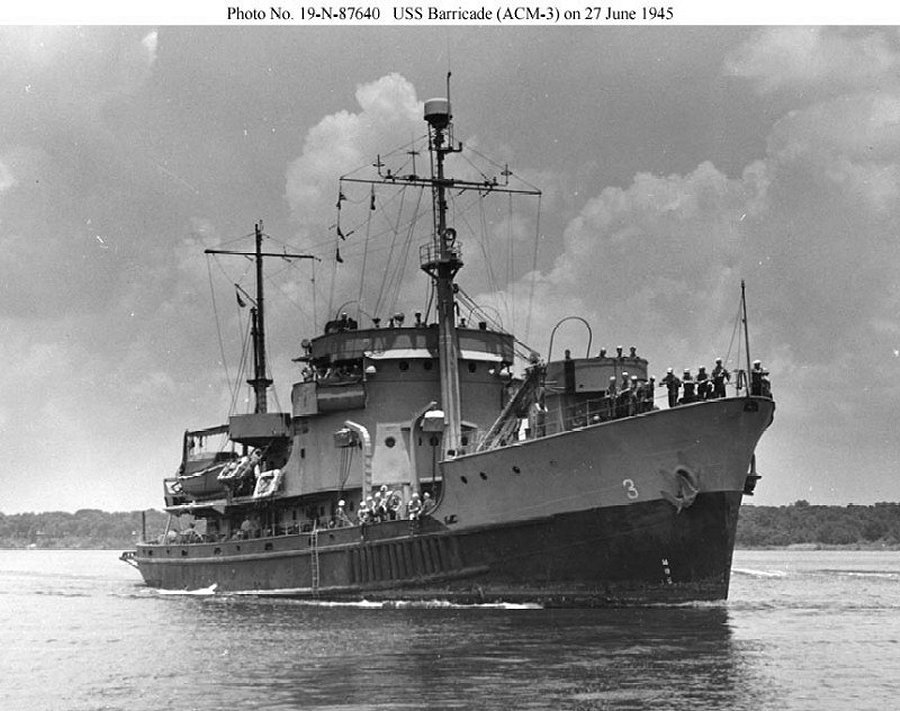 USS Barricade, a minelayer built at Point Pleasant for the Army and later converted for Navy use at Norfolk. She served in the Mediterranean and Atlantic during World War 2 (NavSource).