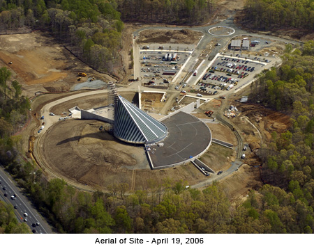 Aerial view of the museum under construction