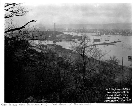 Flood of Jan. 1937, from Rotary Park, with C&O shops in foreground and ultramarine plant with high stack