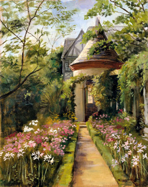 A painting by Margo Peet of the garden and gazebo