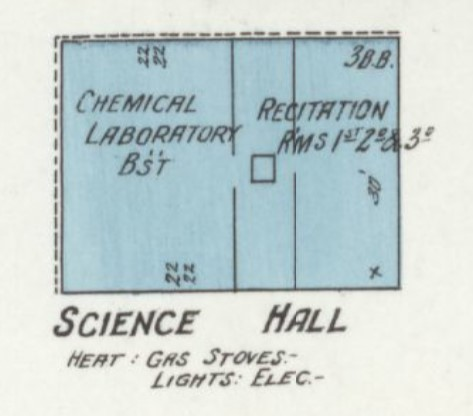 "Parmenter Hall, known then as ""Science Hall,"" on 1912 Sanborn map (p. 1)"