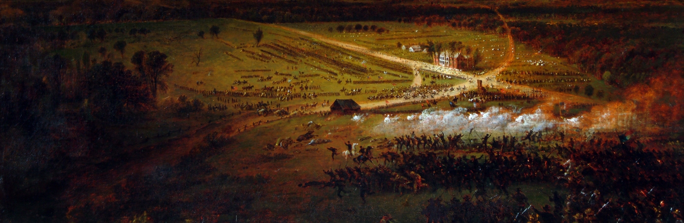 Painting showing an aerial view of the battle