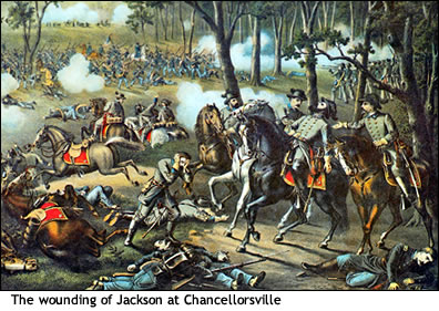 Painting of Jackson's wounding by friendly fire. However, the wounding took place late into the night
