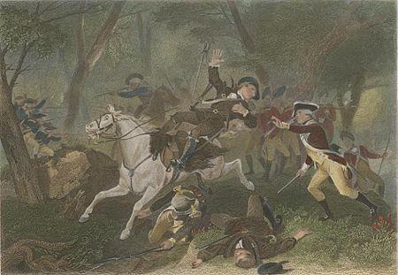 An engraving depicting the death of Major Patrick Ferguson