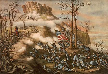 Battle of Lookout Mountain, 1889 lithograph by Kurz and Allison shows how close Rebels and Yankees were to each other during the fierce fight.