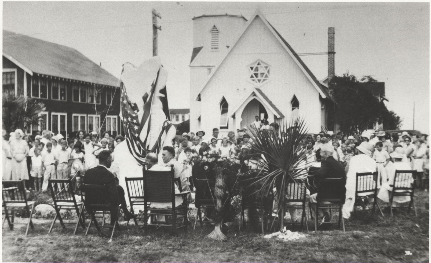 Original location. 1932 Dedication of Lindbergh Memorial to Children. Church was then located at the corner of 2nd Street and 2nd Avenue, South, in Jacksonville Beach.
