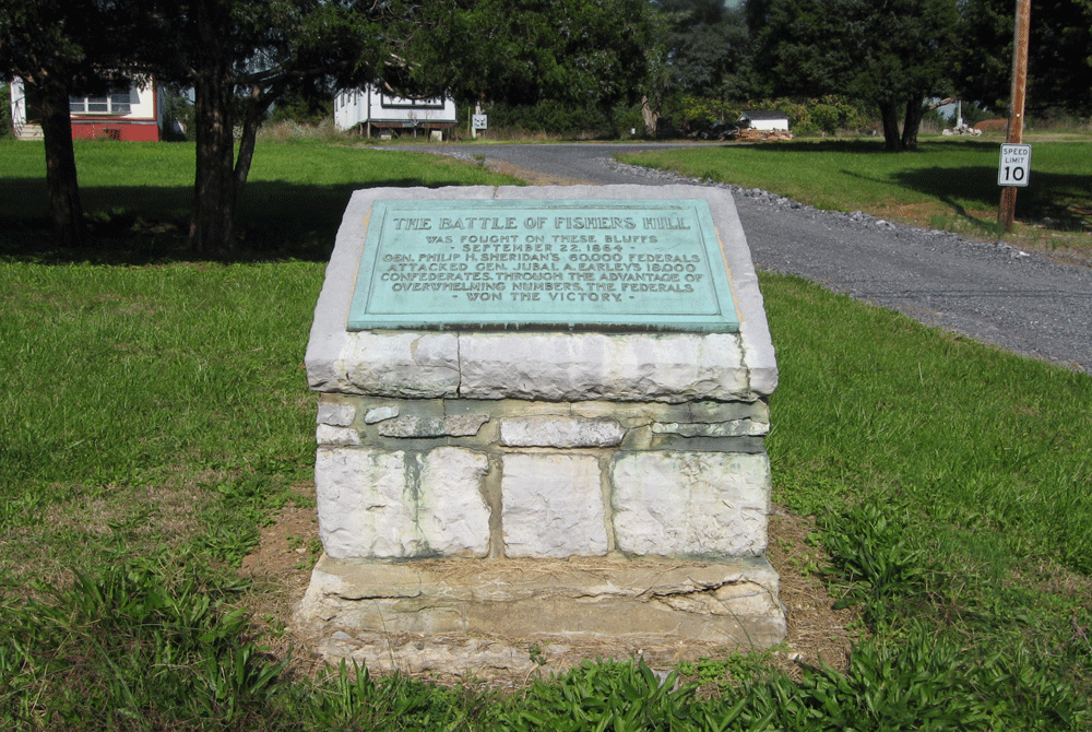 Monument to the Civil War Battle of Fisher's Hill along the Valley Pike south of Strasburg, Virginia