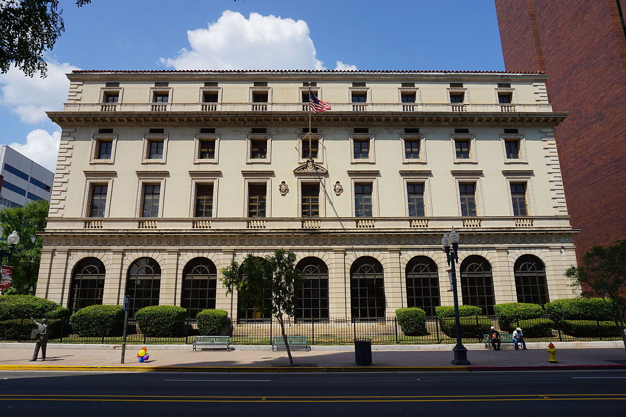The former United States Post Office and Courthouse was built in 1912. It is now the Main Library of the Shreveport library system..