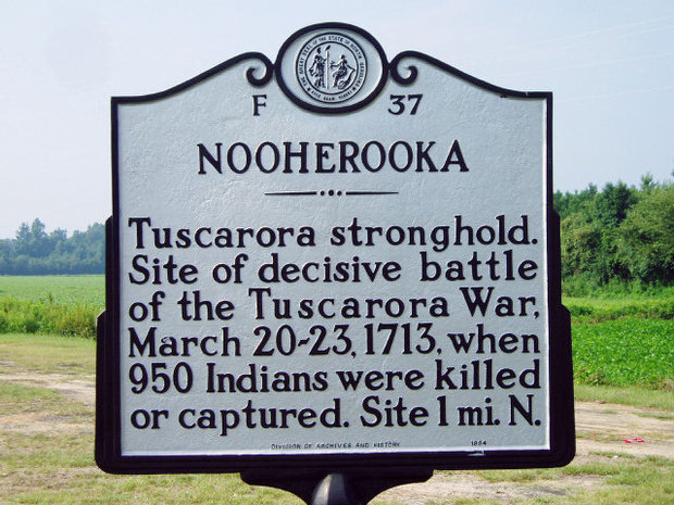 Placard near the Nooherooka monument on Rt. 58.