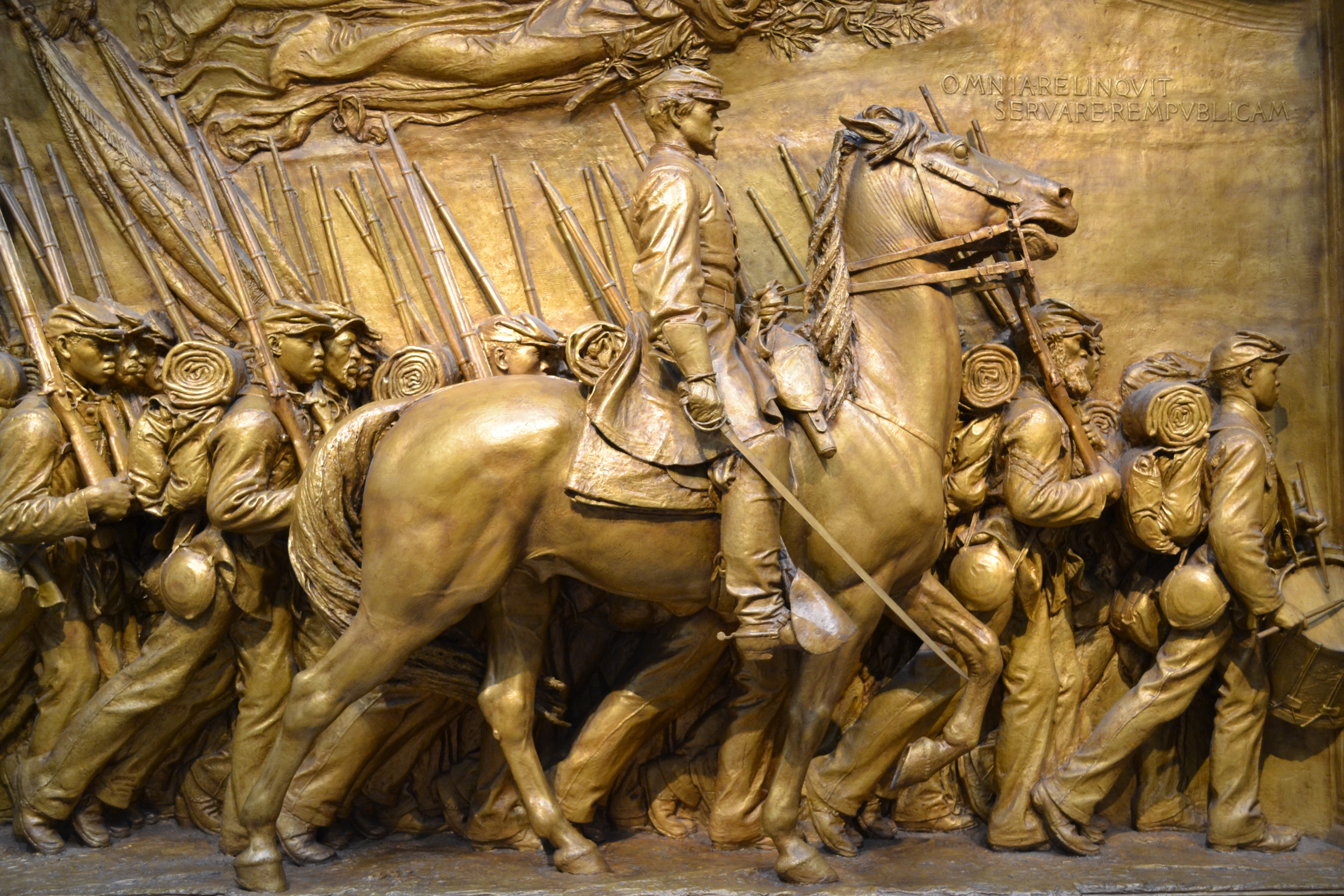 "A close-up of Saint-Gaudens' sculpture that honors the all-black 54th Massachusetts Regiment that was the subject of the movie ""Glory."""