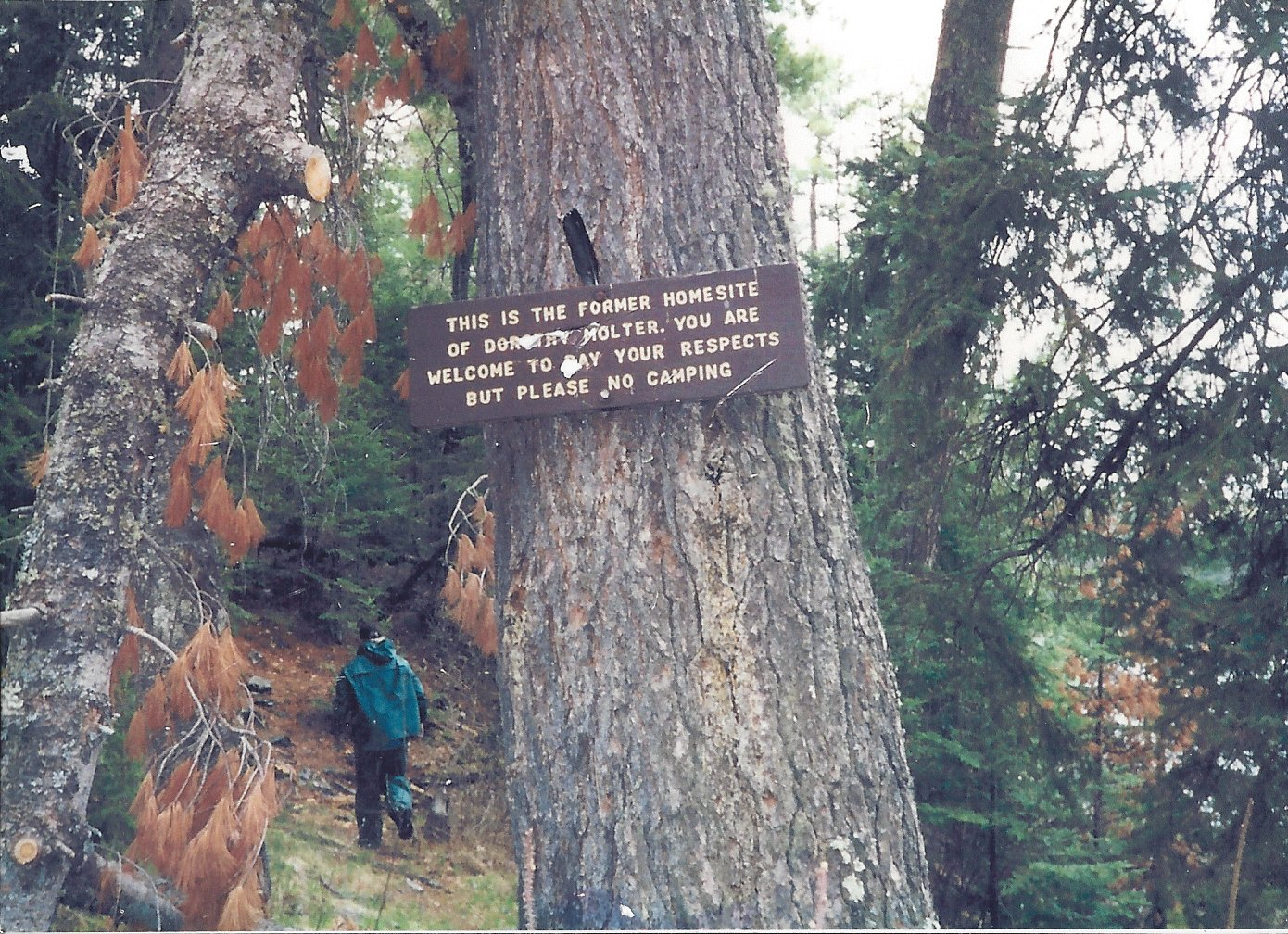 USFS sign after Dorothy died in 1986