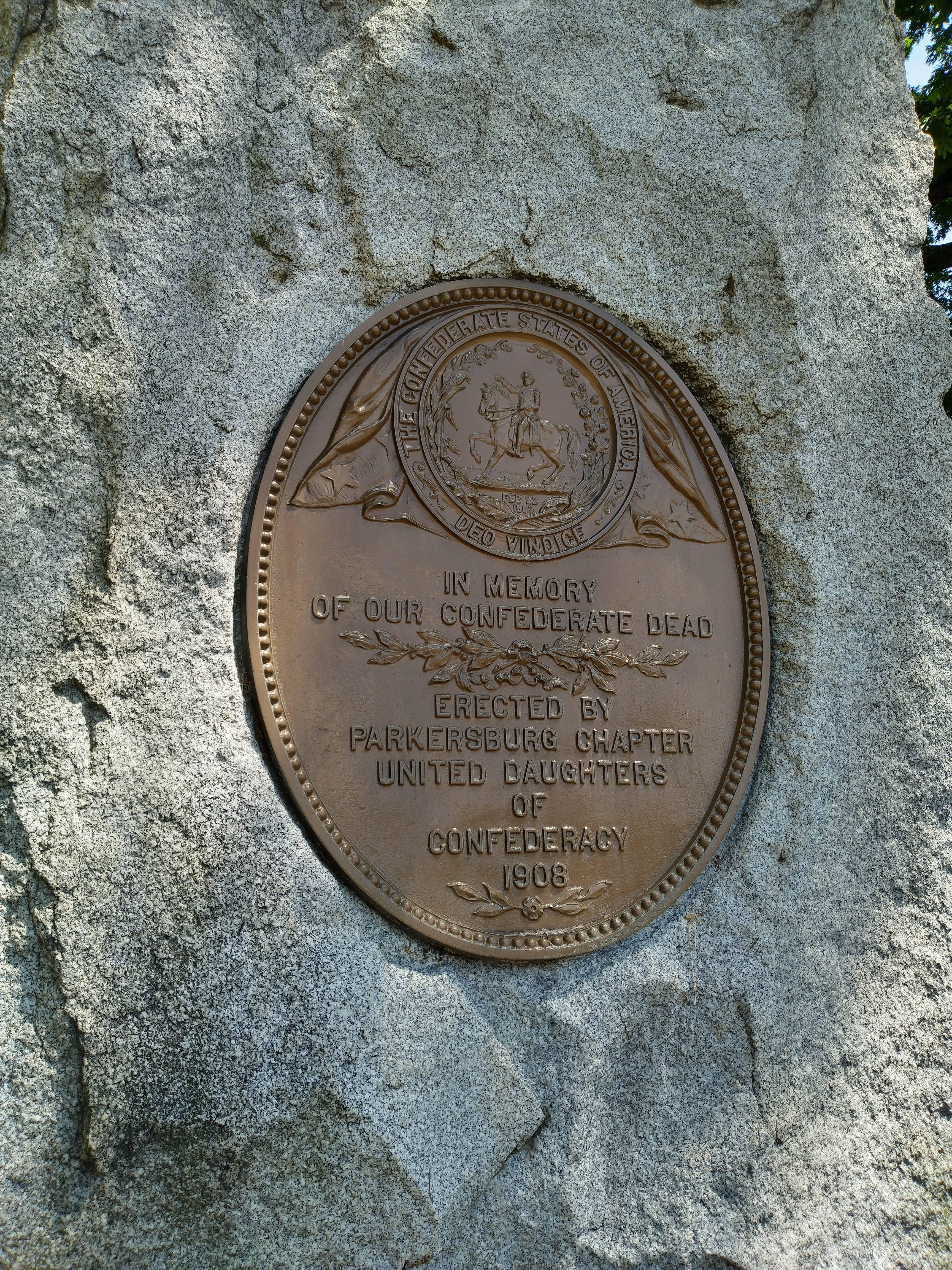 Parkersburg Confederate Monument plaque.