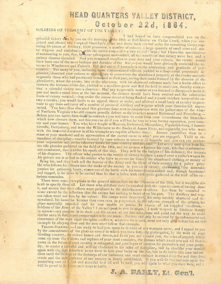 October 2014 artifact from the Brockenbrough collection. Written by Lt. Gen. Jubal A. Early to his men after they lost the 1864 Battle of Cedar Creek because the Confederate soldiers looted the federals' camp instead of ensuring its destruction.