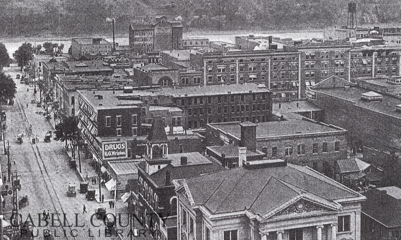 Looking towards the Ohio River, with the mill visible in the background, circa 1912