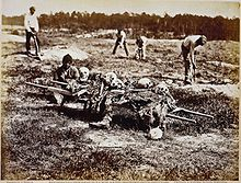 A burial party in April 1865. It would not be until war's end that the dead of Cold Harbor could be buried