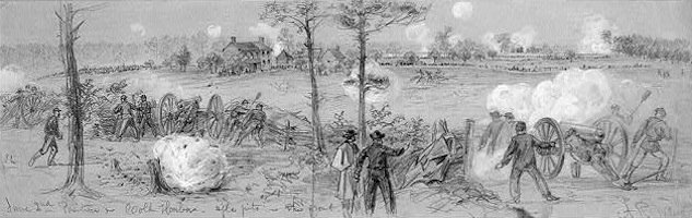 A on-the-scene sketch of the Union charge in June 3.